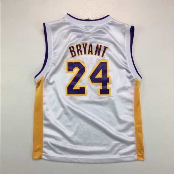 best website bea14 3ecc5 Adidas Los Angeles Lakers Kobe Bryant White Jersey